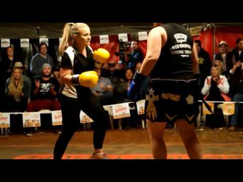 2 women tent boxing tag team  Outback Fight Club  Mt Isa 2015