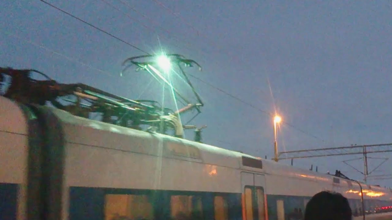 Electric Arc Spark Between Power Cable And Train Youtube