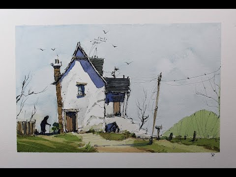 Old Home Line And Wash Watercolor Full Tutorial Easy Style With Nil Rocha Crooked Lines