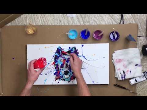 Purple Wolf - Acrylic Splatter Paint Abstract Art