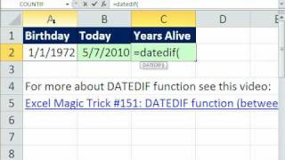 Excel Magic Trick 594: How Old Are You? DATEDIF Function