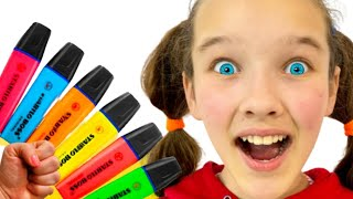 Miss Emi pretends to play with her Magic Pen Preschool toddler learn color