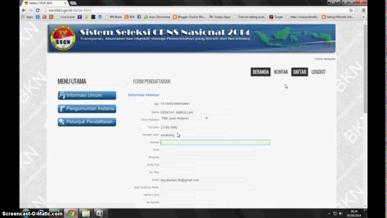 Gambaran Umum Cara daftar CPNS 2017 melalui www.sscn.bkn ...