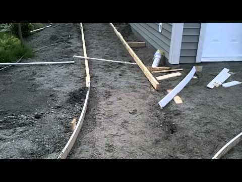 Garage Build Part 14 - Building curved concrete sidewalk for...
