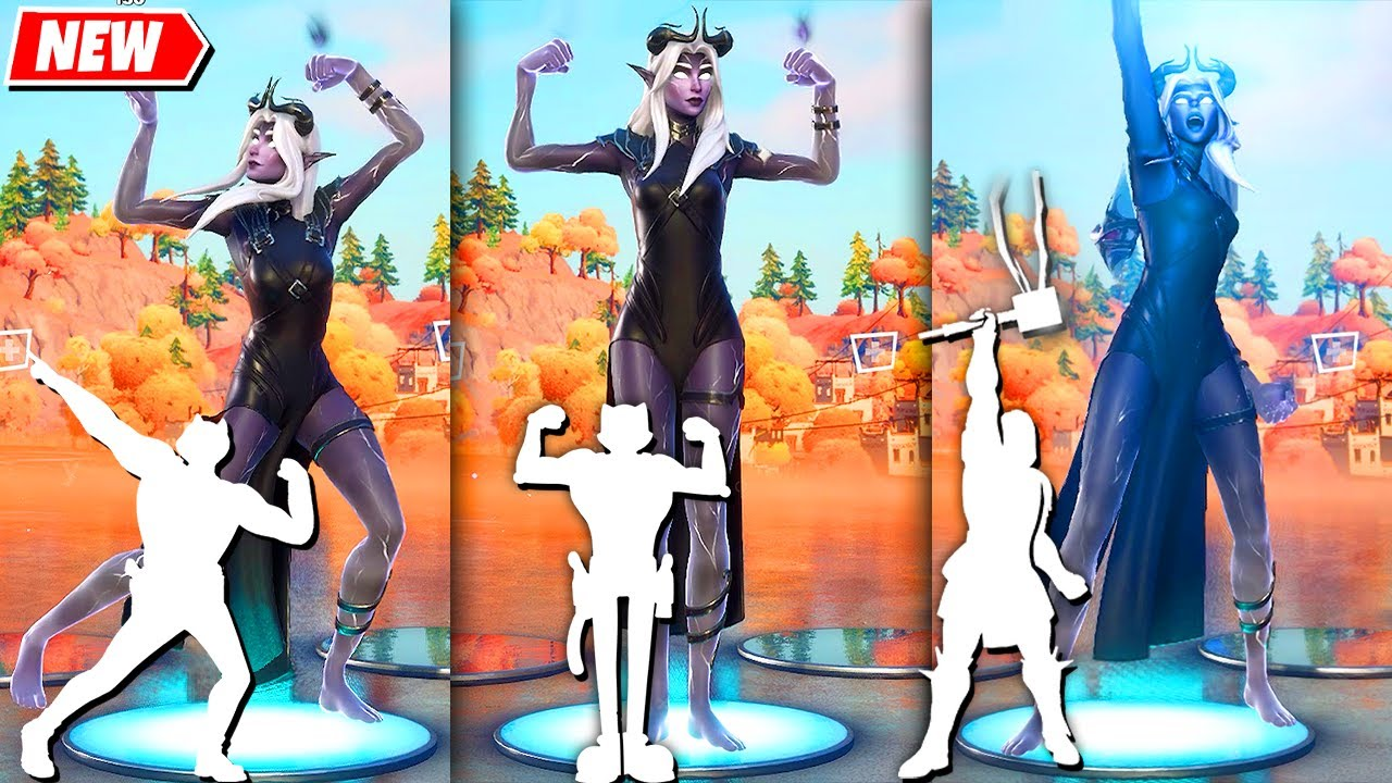Fortnite Etheria Skin doing all Built-In Emotes!..