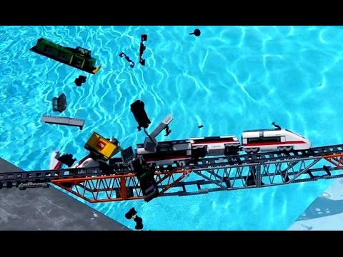 Thumbnail: Lego train crash on Lego bridge Compilation