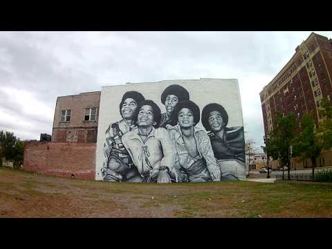 Downtown Gary, Indiana Broadway Drive & Visit The Jackson's Home & Huge Mural