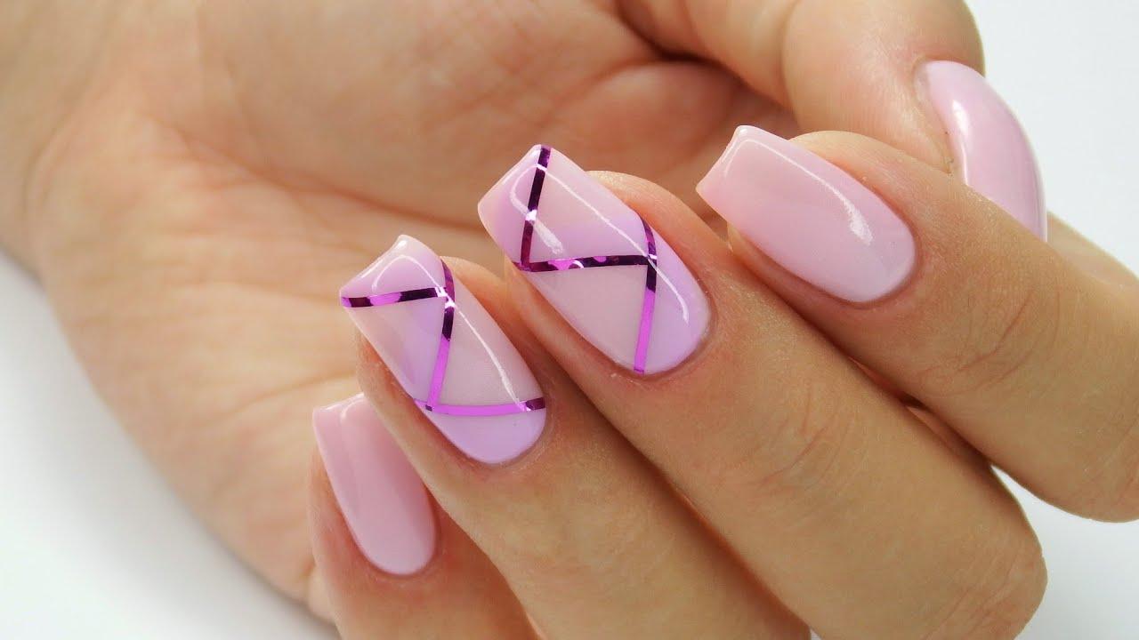 Nakladanie Tasiemki Na Hybryde Delicate Violet Nails Cuccio