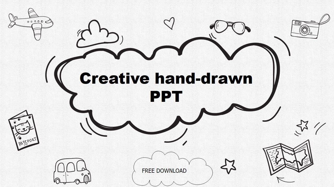 Creative Cartoon Pencil Hand Drawn Template Powerpoint Free
