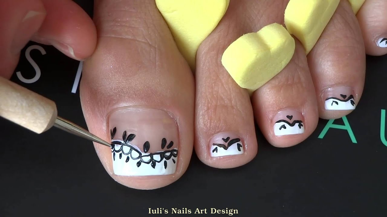 French Pedicure Uneven Toes Art Black Lace Easy Beginners