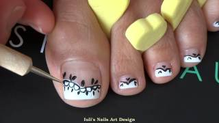French Pedicure Uneven Toes Art Black Lace Easy Beginners Tutorial