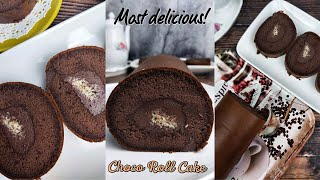Resepi mudah Choco Roll Cake with Choc Ganache & Cheese filling ( Method All in 1)