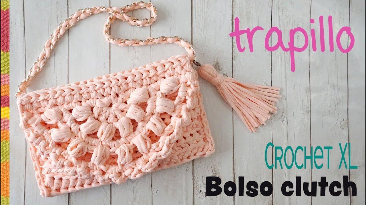 Totora Xl Una O Pieza Bolso Tejido Con De En Clutch Crochet Trapillo 8w0OknPX