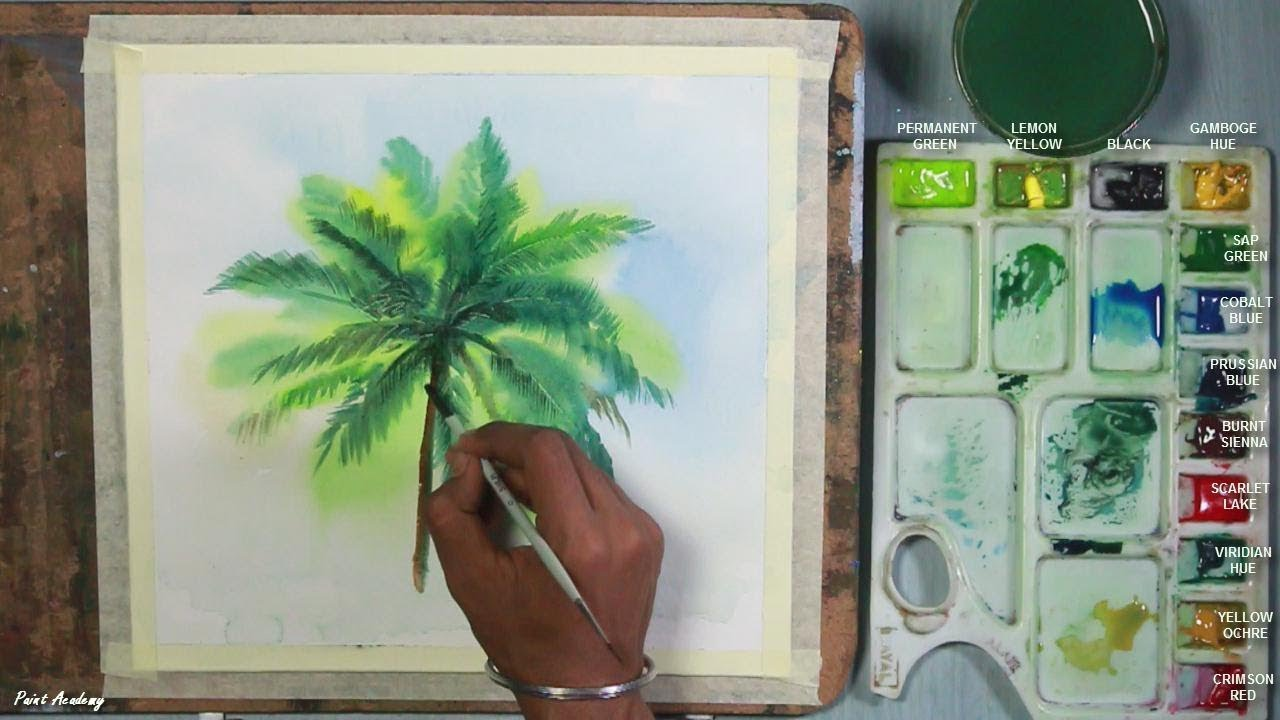 How to Paint A Coconut Tree in Watercolor - YouTube