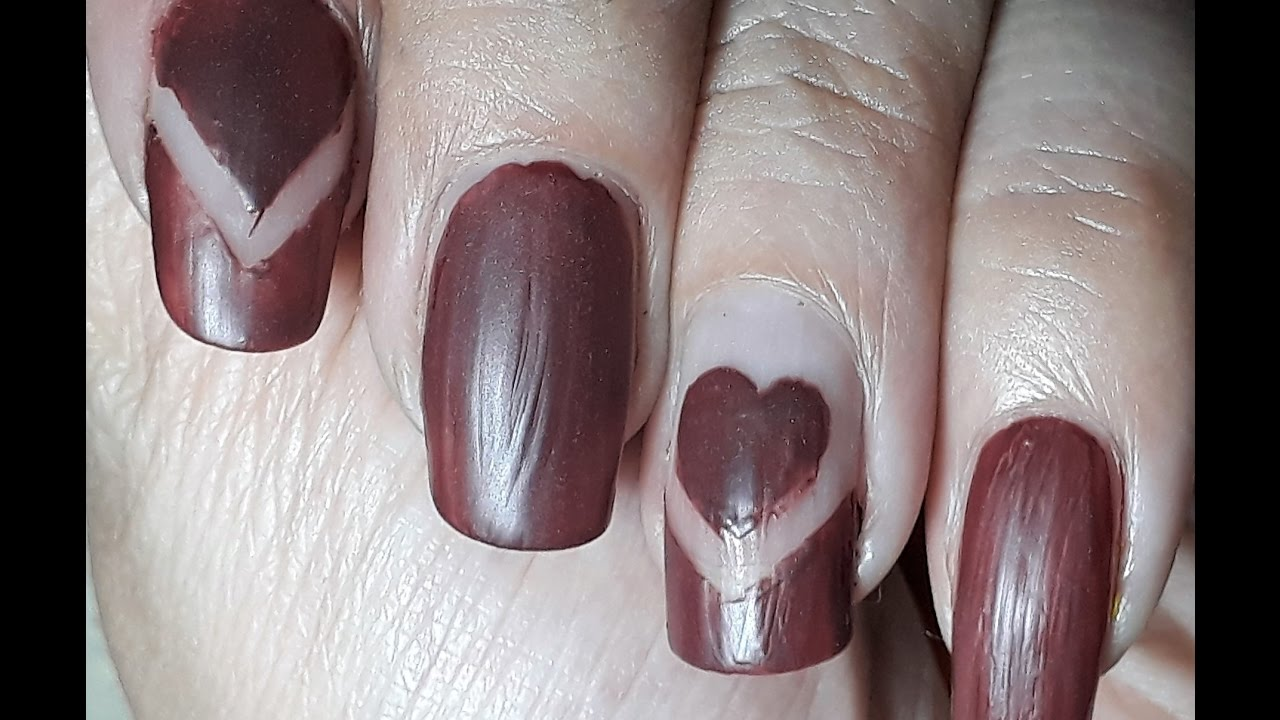 Brown Matte Heart Nail Manicure | ARS Arts | Easy Matte Nail Art at ...