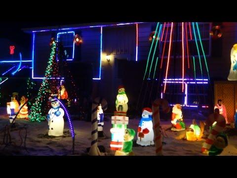 Cape Breton Christmas Light Display as We Drive around Sydney Nova Scotia 2016