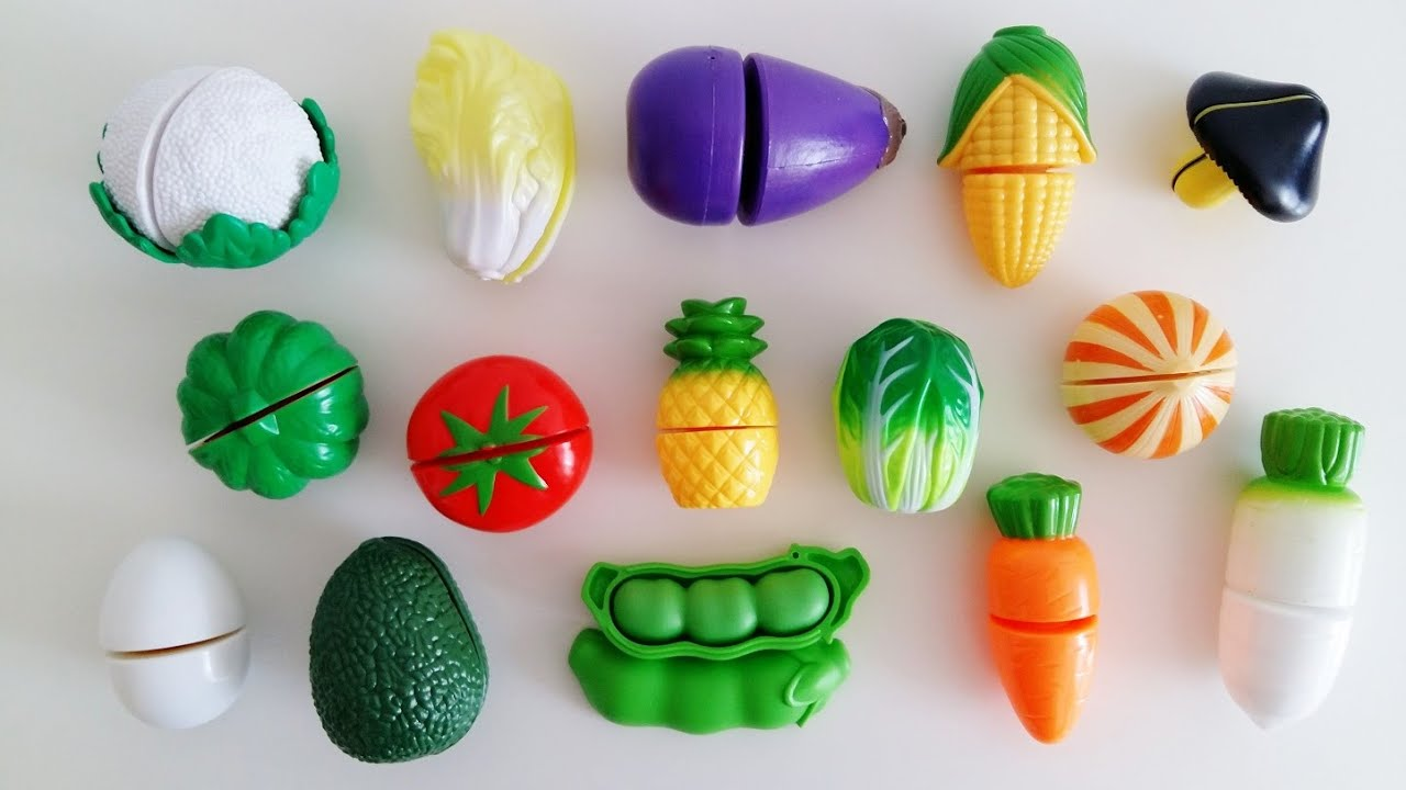 Learn Names Of Fruits Vegetables Egg With Velcro Cutting