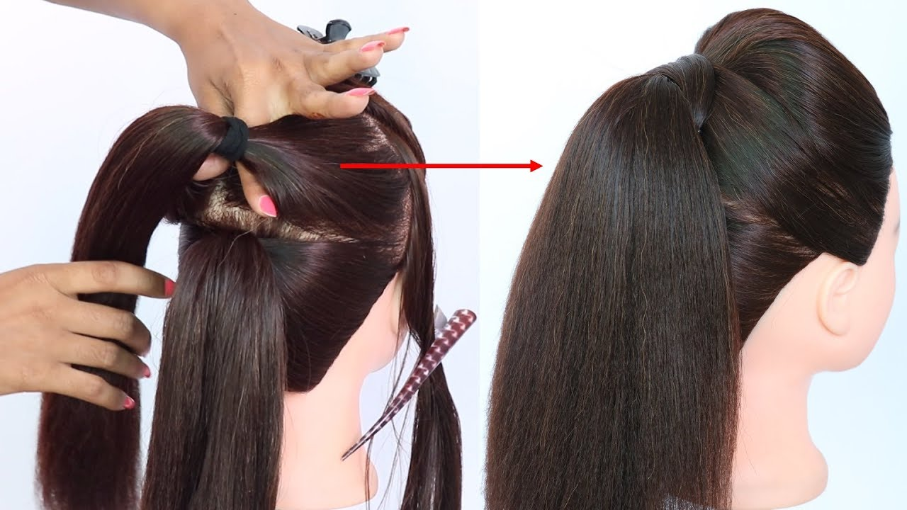 new trick for volumized ponytail with puff || prom hairstyles || cute hairstyles || hair style ...