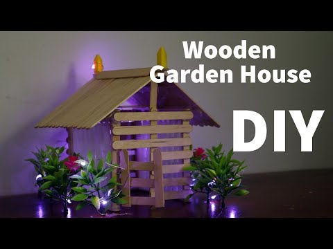 How To Make a Wooden Popsicle Stick + Plastic Brick wall Garden House