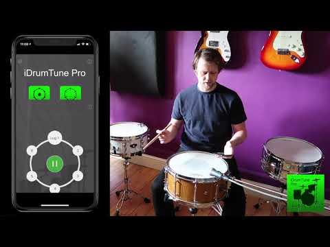 Snare Drum Tuning - De Broize Custom 14x6.5 Solid Oak - iDrumTune Pro drum tuner app