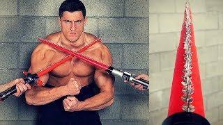 Bodybuilder VS Thumbtack Lightsaber *EXTREMELY DANGEROUS* | Crazy Star Wars Toy Challenge Fail