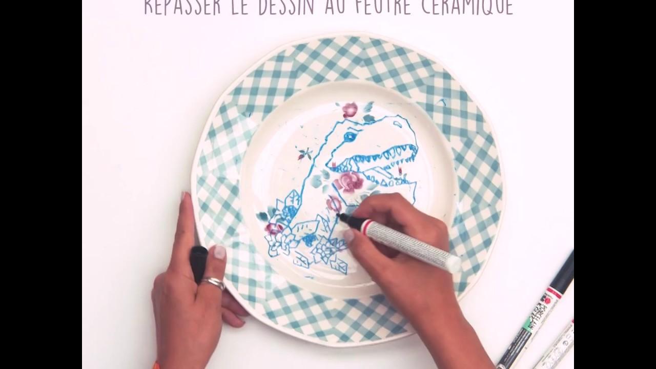 Décorer des assiettes avec des feutres pour céramique