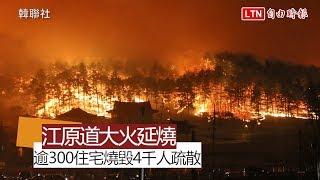 南韓江原道大火延燒385公頃 逾300住宅燒毀4千人疏散
