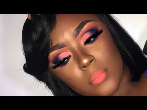 Peach And Cobalt Blue Semi Cutcrease😍 | Briana Marie