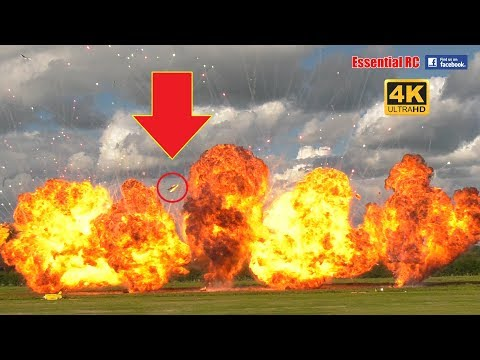 RC PLANES ON *FIRE*, CRASHING and BIG EXPLOSIONS ! EPIC PYROTECHNIC MADNESS [*UltraHD and 4K*]