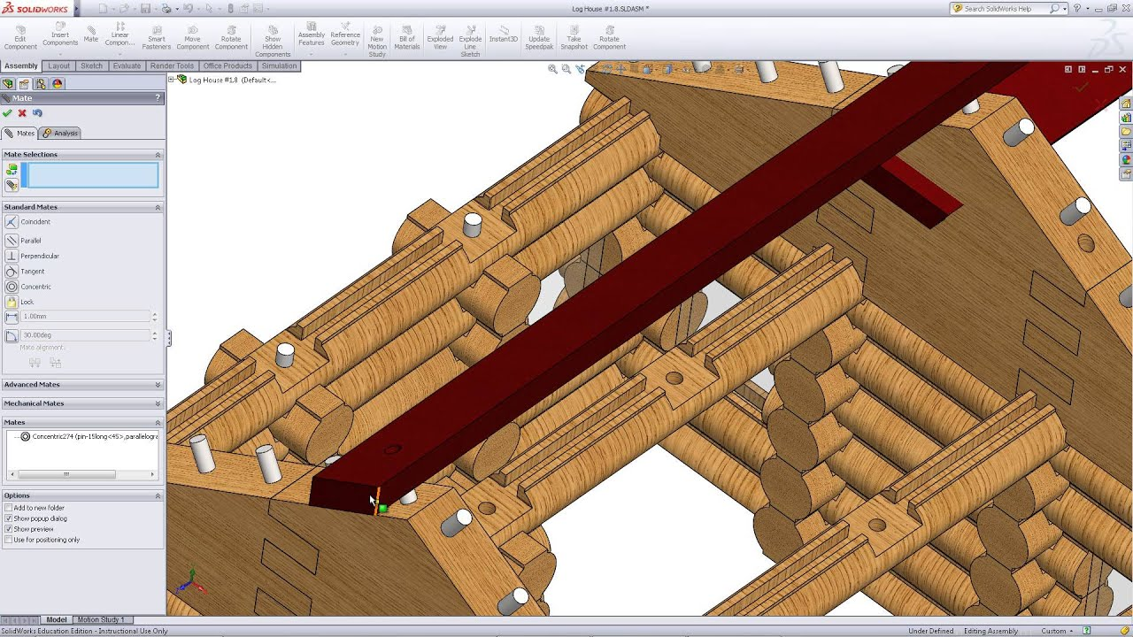 Wonderful image of  Log Cabin in SolidWorks Part 19: Assembling the Roof   with #460807 color and 1920x1080 pixels