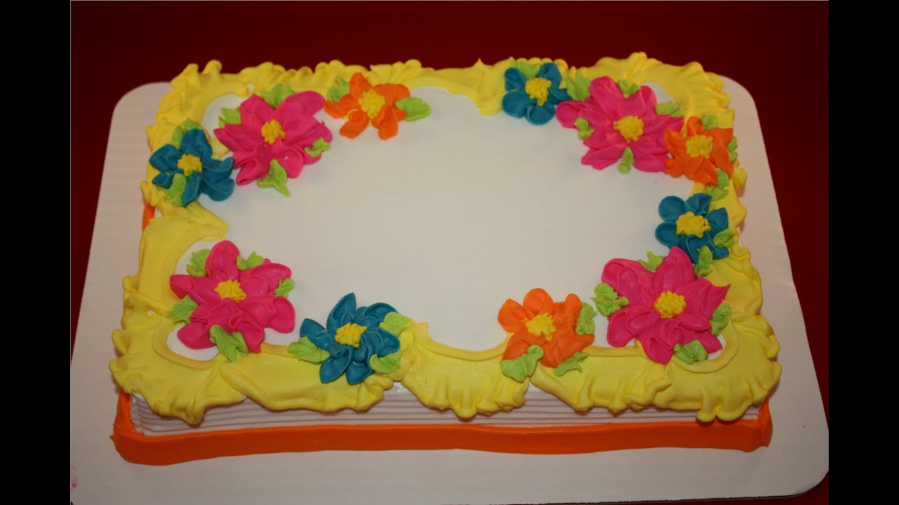 Sheet Cake Decorated With Flowers : Pretty Flat Flowers on a Quarter Sheet Cake - YouTube
