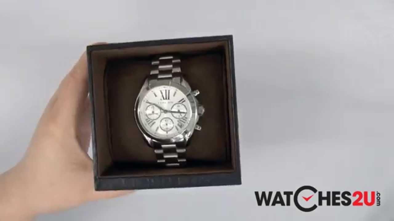 8917d142726f MK6174 Michael Kors Ladies Bradshaw Silver Chrono Watch - YouTube