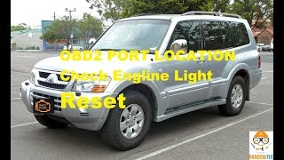 ▶️How to Reset Mitsubishi Montero Check Engine Light + OBDII OBD2 Port  Location 2001 2002 2003 2003