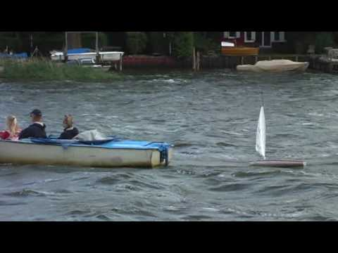 Rc Laser Sailboat In Stormy Sea Youtube
