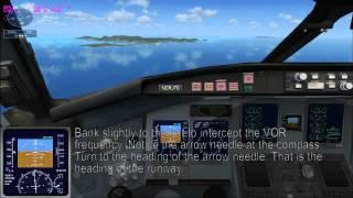 FSX Mission - Caribbean Landing w/ VOR Tutorial (No autopilot)