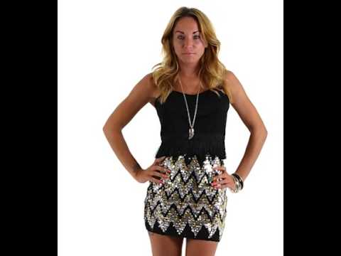Aztec Sequin Bodycon Skirt - YouTube