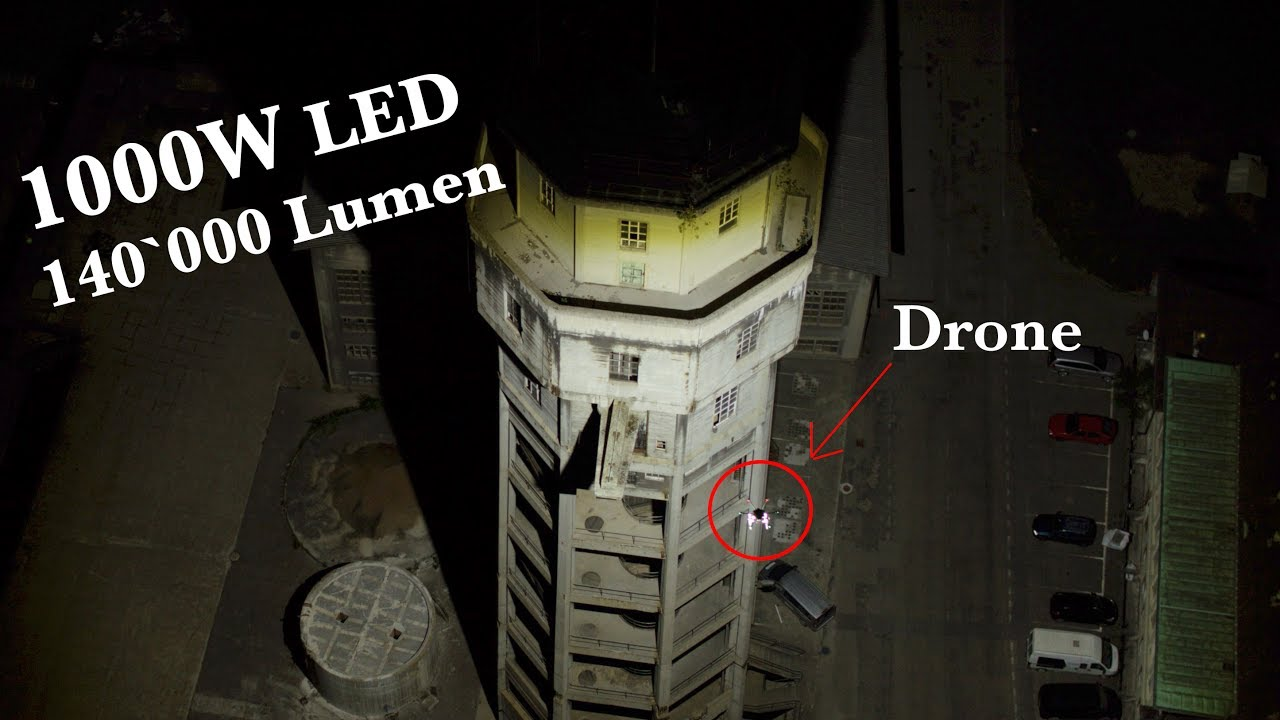 1000w led on a drone 140 000 lumen in the air youtube