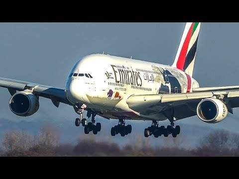 14 BIG PLANE LANDINGS - Airbus A380, Boeing 767, B787 ... (4K)