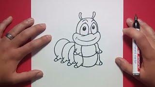 Como dibujar un gusano paso a paso 2   How to draw a worm 2