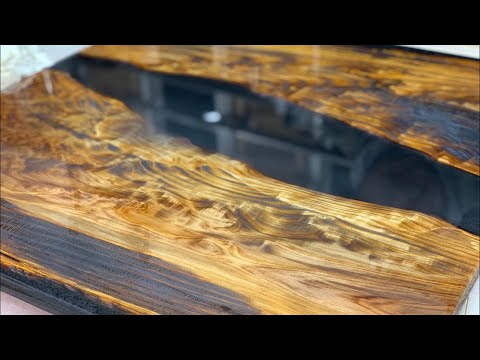 Japanese BLACK RIVER TABLE with Epoxy Resin