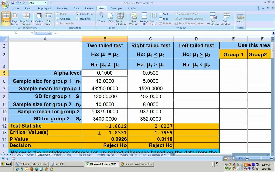 200 20 Unpaired t test Hypothesis test using Excel Small sample