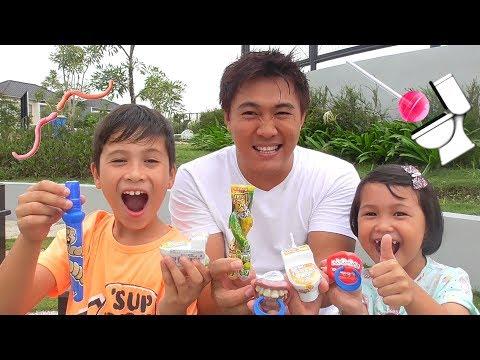 Nyobain Permen Lollipop Unik dan Aneh - Permen Semprot Asem