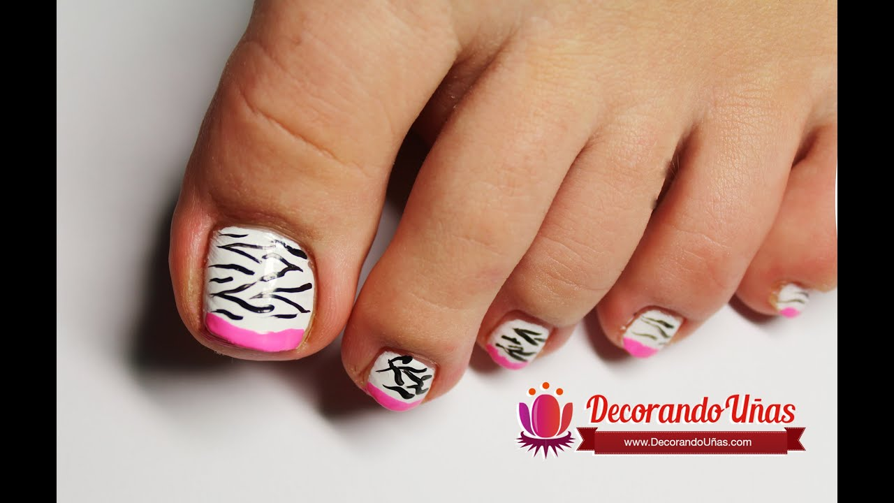 U as animal print y estilo francesa para el pie youtube for Decoracion unas en pies