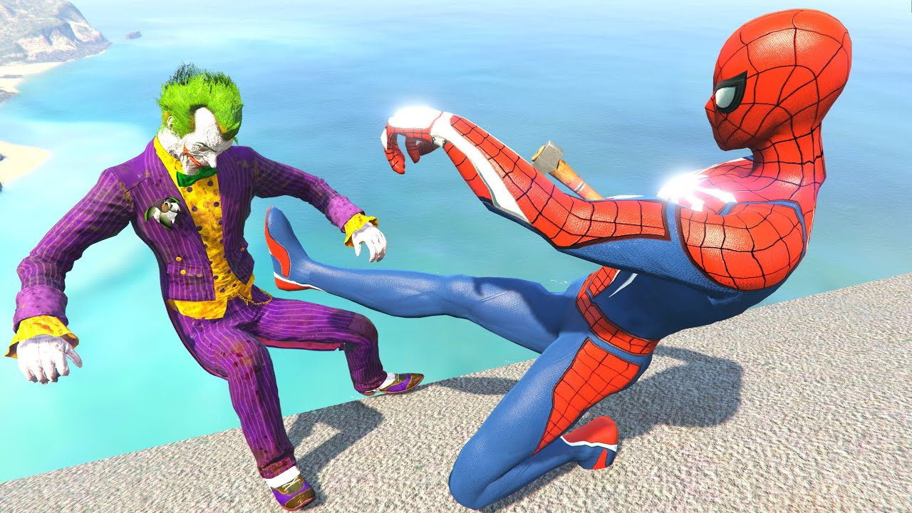 GTA 5 Water Ragdolls - JOKER VS SPIDERMAN (Euphoria Physics, Fails)