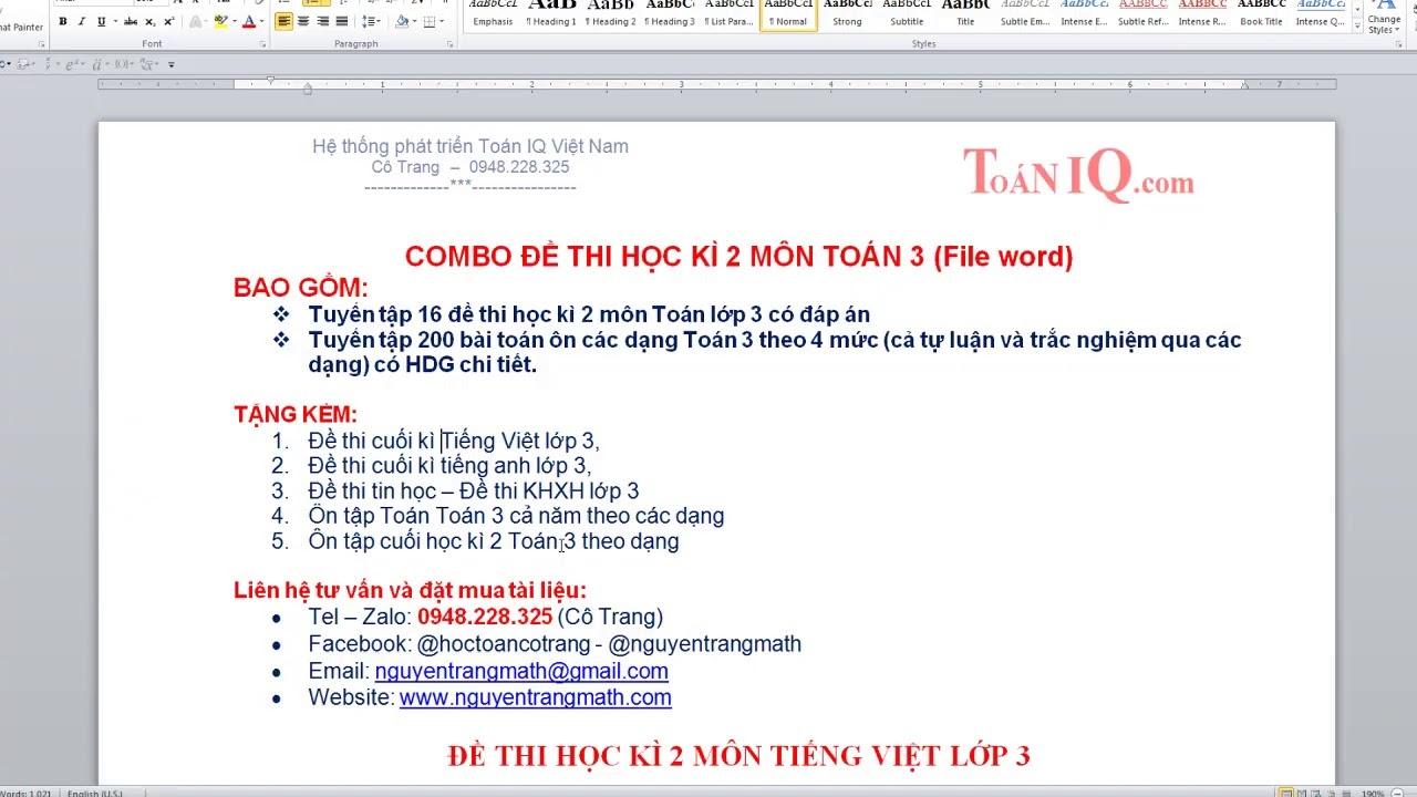 Đề thi học kì 2 môn Tiếng Việt lớp 3 theo thông tư 22 có đáp án