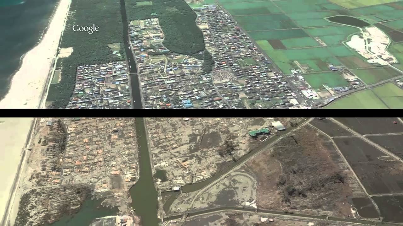 Google Earth: Sendai, Japan Before And After