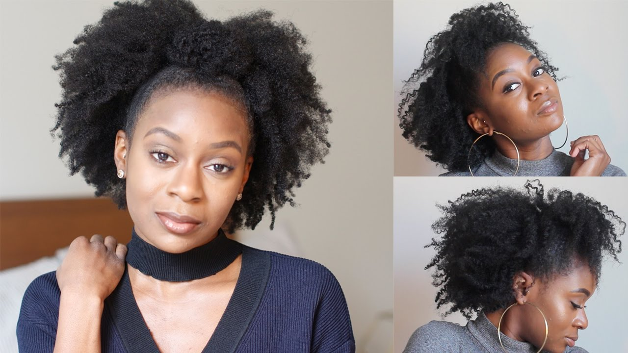 quick natural hairstyles | half up half down twist out for 4c hair