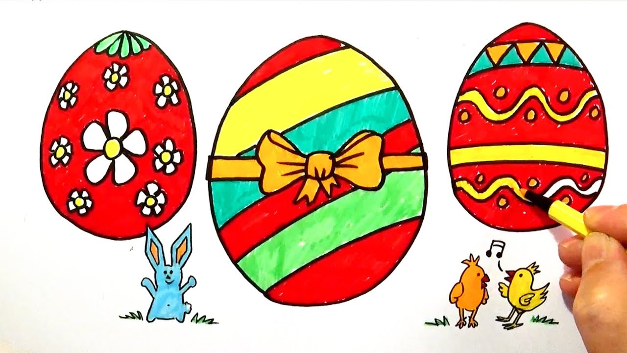 Easter Eggs - Coloring and Drawing for Children - Easy Fun Coloring