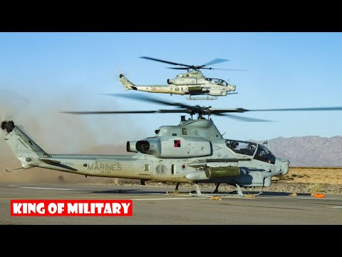 US Marines With AH-1Z & UH-1Y Venom Helicopters Conduct Arming & Refueling Training