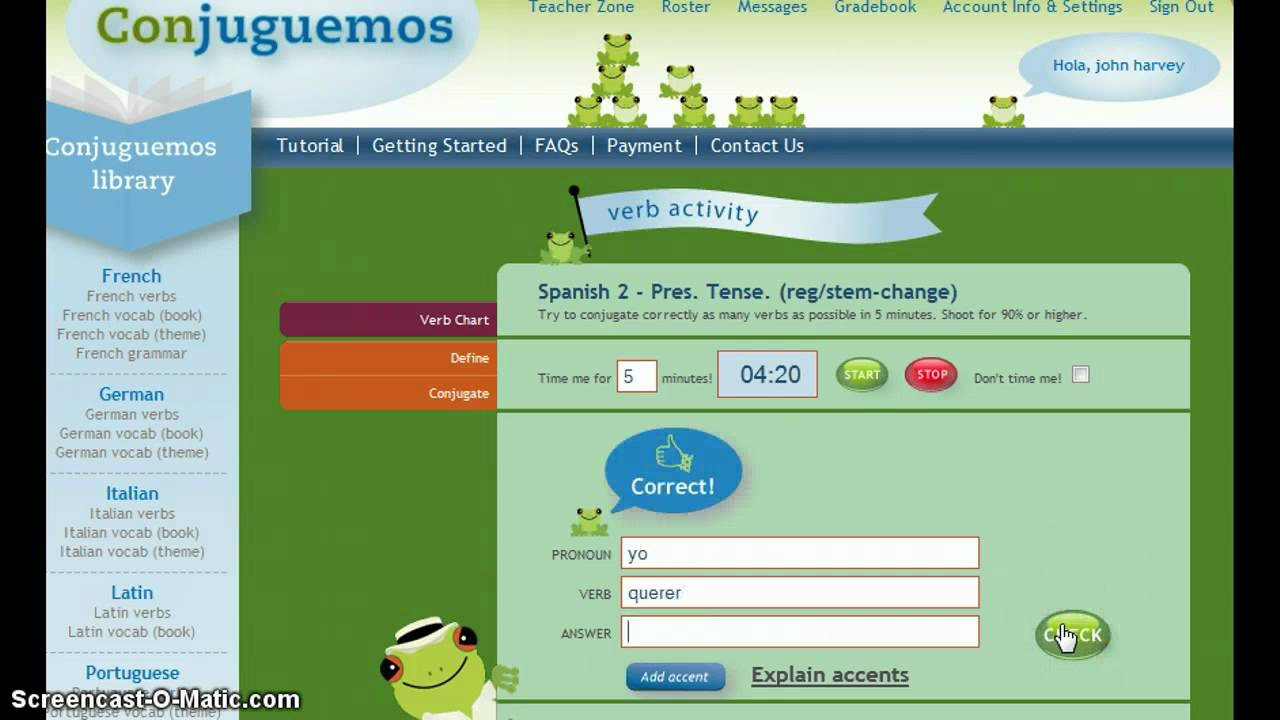 conjuguemos.com - doing verb activities - YouTube